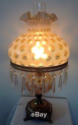 Art Rare Vintage Fenton Verre Honeysuckle Opalescentes Coin Lampe Dot Avec Prismes