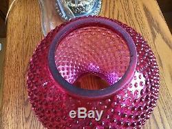 Art Vintage Fenton Verre Opalescent Cranberry Cloutés Lampe Bn10