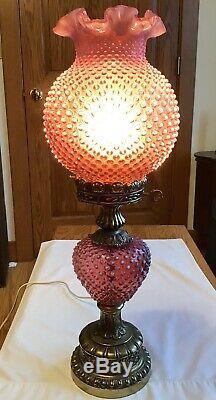Art Vintage Fenton Verre Opalescent Cranberry Cloutés Lampe L9