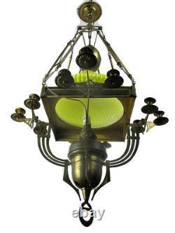 Arts Et Artisanat Impressionnant Lustre Bauhaus Art Déco En Laiton Jaune Opaline Ombre