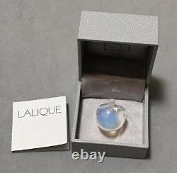 Authentique $280 Lalique France Opalescent White Cabochon Crystal Ring T48 4.5 Nib