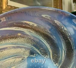 Avant 1945 R. Lalique Poissons 11 3/4 Console Opalescent Bowl Spiral Fish France
