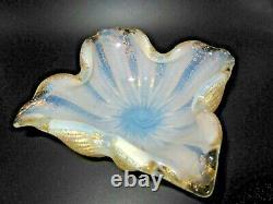 Barovier Toso Carré Murano Cordonato D'oro 24k Gold Rope Opaline Art Glass Bowl