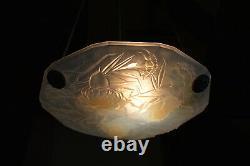 Belle Art Déco Française 1930's Opalescent Glass Pendentif Light Roba Paris