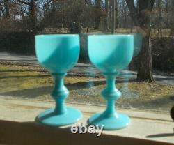 Blue Opaline Glass Portieux Vallerysthal Rare Étiqueté 3 Verres À Vin 1/2cordial