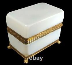 Boitier En Verre Opaline Antique / Casket Bulle De Savon