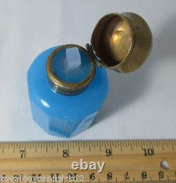 Bottle & Stopper Bleu Opaline Avec Brass LID Antique Original C1899, France
