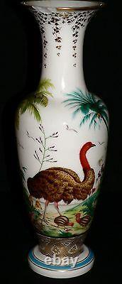 C1850 Opalin Vase En Verre, Baccarat, Jean-françois Robert, Autruche, Ibis, 17.5t