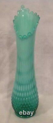 C1941 Ou 59-61 16 Fenton Emerald Green & White Opalescent Swung Vase Rare Vg+++