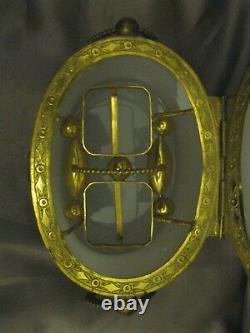 Ca 1850s Français Oval White Opaline Glass Brass 2 Scent Bottles Ormulu Vanity Box