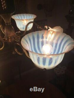 Ca. Antique 1900 3/3 Gas & Electric Lustre Orig Opalescent Art Glass Shades