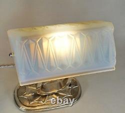 Charles Ranc Français 1930 Art Déco Lampe Opalescent Glass. Ère Muller Moderniste