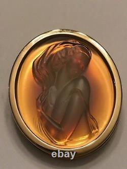 Clemence Authentique Lalique Lady Cameo Pendentif En Cristal Rose Opalescent Broch
