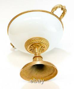 Continental White Opaline Gilt Bronze Mounted Double Handled Footed Lidded Bowl