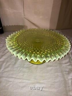 Début Fenton Vaseline Opalescent Hobnail Piédestal Cake Stand-cake Plate-1940s