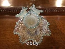 Dentelle Diamant Fenton Hobnail Vintage 3 Horn Large Glass Blue Opalescent Epergne
