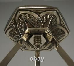 Ejg French 1930 Opalescent Art Déco Chandelier Lampe Pendentif Ezan Muller Ère
