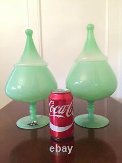 Ensemble De 2 Vtg Opaline Veritable 13 Jadeite Green Art-glass Apothicaire Candy Jars
