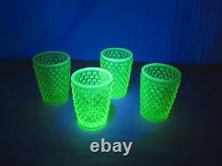 Ensemble De 4 Fenton Hobnail Topaz Opalescent Juice Tumblers Glow