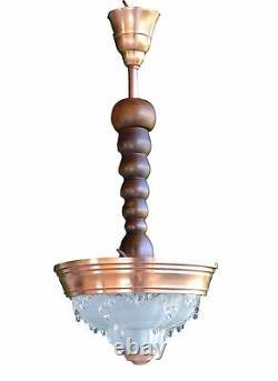 Ezan Français Opalescent Glass Art Déco Chandelier Lampe De Plafond