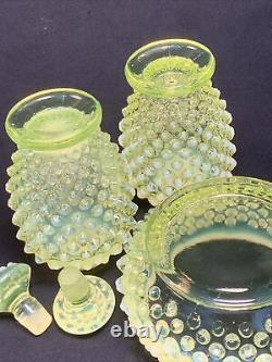 Fenton 3 Pc Opalescent Yellow Topaz Vaseline Glass Perfume Bottle Paire & Poudre