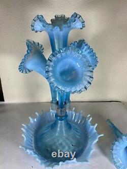 Fenton 4 Horn Epergne Blue Opalescent Fait Pour L G Wright Antique Des Années 1930