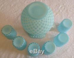 Fenton Art En Verre Bleu Opalescent Bébé Coin Dot Pitcher & 6 Gobelets A3