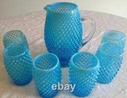 Fenton Art Glass Blue Opalescent Hobnail Tankard Pitcher & 6 Tumblers A9