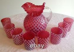 Fenton Art Glass Cranberry Opalescent Baby Coin Dot Ice Lip Pitcher & 8 Tumblers