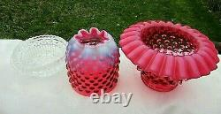 Fenton Art Glass Cranberry Opalescent Hobnail Lamp 3/pc Fairy Lamp