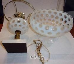 Fenton Art Glass Français Opalescent Coin Dot Parlor Boudoir Lampe