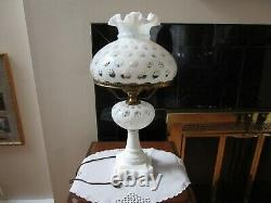 Fenton Art Glass French Opalescent Coin Dot Table Parlor Lampe 21 H Vintage