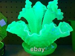 Fenton Art Glass Stunning Emerald Green Opalescent Epergne Remarkable Glows