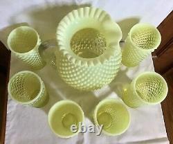 Fenton Art Glass Topaze Jaune Opalescent Cloutés Pitcher & 6 Gobelets