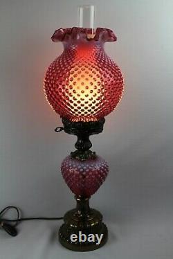 Fenton Canneberge Modèle De Hobnail Opalescent Pilier Gtww Lampe 1970's