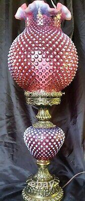 Fenton Canneberge Modèle De Hobnail Opalescent Pilier Gtww Lampe 24 Gorgeous
