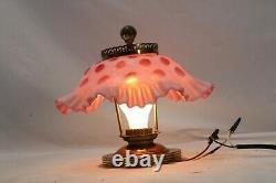 Fenton Ceiling Light Coin Dot Cranberry Opalescent Shade Ruffled Lamp Testé