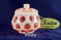 Fenton Cranberry Coin Dot Opalescent #1522 Couvert Candy Jar/dish 1947-51