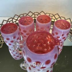 Fenton Cranberry Coin Dot Opalescent Pitcher 4 Gobelets Vintage # 130