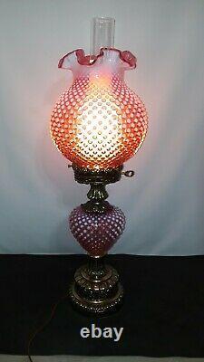 Fenton Cranberry Opalescent Cloutés Lampe Autant En Emporte Le Vent Ouragan