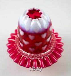 Fenton Cranberry Opalescent Hearts 3-piece Fairy Lampe Vintage Art Glass