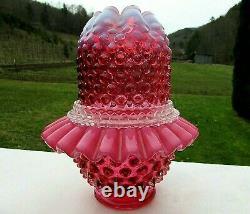 Fenton Cranberry Profonde Opalescent Hobnail Fairy Lampe 3 /pcs. Monnaiedernière