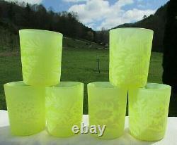 Fenton Daisy Fern Topaz Vaseline Opalescent Pitcher & Tumblers 7 Pc Set