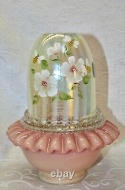 Fenton, Fairy Light, Birman Et Topaz Opalescent Glass, Décoré À La Main, Abeille Au Miel
