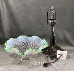 Fenton Français Lampe Opalescente Emerald Crest Diamond Lace Desk