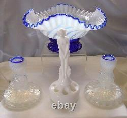 Fenton Glassmintvintage1930sblue Ridgecrestopalescentnymph6pcset