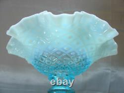 Fenton Glassmnt&perfvintage50sblue Opalescentdiamond Dentelle1 Horn10epergne