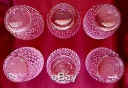 Fenton Glasssrcvintage1940scranberry Pinkopalescenthobnail7pcwater Set