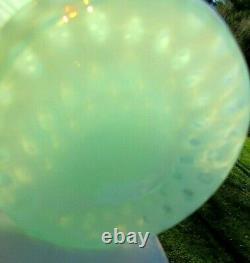 Fenton Green Blue Crest Opalescent Coin Dot Jack In The Pulpit Vase 11h Menthe