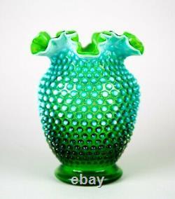 Fenton Green Opalescent Hobnail Grand Vase Serti 8 Verre Vintage C. Années 1940